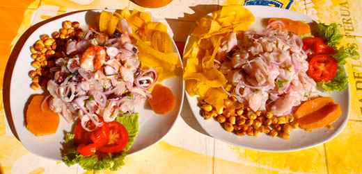 Two plates of Peruvian ceviche.
