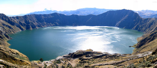 A panorama of Lake Quilotoa.