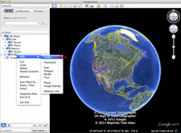 A screenshot of Google Earth showing how to add a new folder.