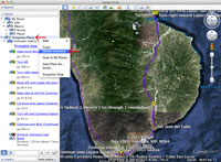Screenshot showing how to clear temporary places in Google Earth.