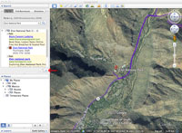 Screenshot showing how to clear the fly to results in Google Earth.