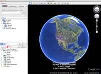 Screenshot showing how to collapse the layers panel in Google Earth.