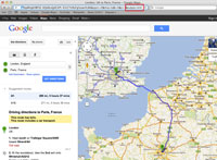 A screenshot of Google Maps showing out to save the output file.