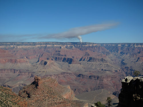 A controlled fire on the west rim of the Grand Canyon.