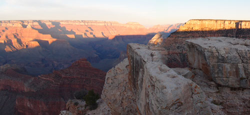 Panoramic view of the Grand Canyon.