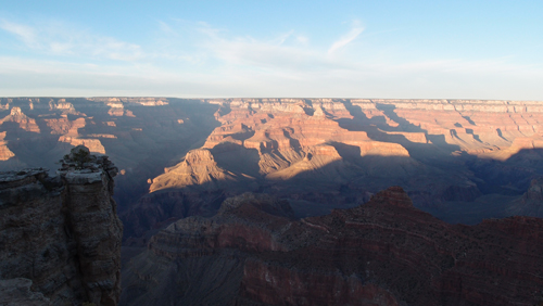 The Grand Canyon at sunset.