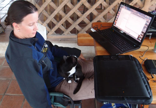 Jessica on her Laptop with a Tigo USB Modem in Guatemala