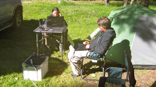 Jess and Kobus working away at our campsite in San Cristobal de las Casas.