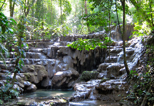 The waterfalls in Palenque.