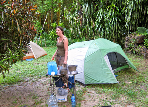 Jessica in our jungle camp after a rainy night in Palenque.