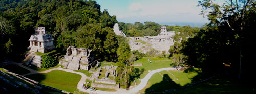 A panorama from atop the ruins of Palenque.