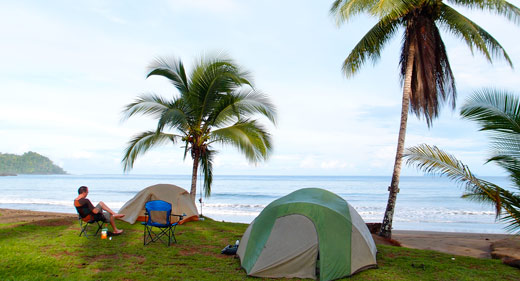 Camping on the beach in Costa Rica.