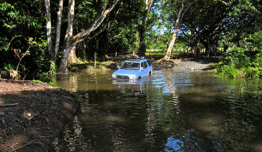 A waist deep river crossing in Costa Rica.