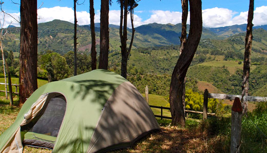 A view from our tent in Colombia.