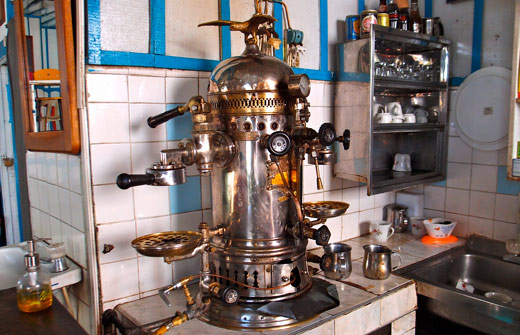 An antique coffee machine in Colombia.
