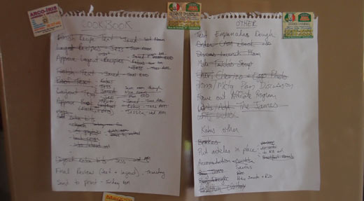 Todo lists pinned to our fridge.
