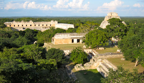 The restored ruins of Uxmal from a distance.