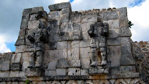 Three dimensional scuptures of Mayan warriors in Kabah.