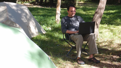Jared with Wifi in Campground