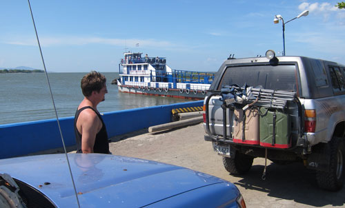 Blue waits in line at the ferry to Ometepe Island.