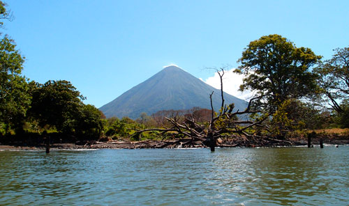 A view of the volcano while swimming in the lake.