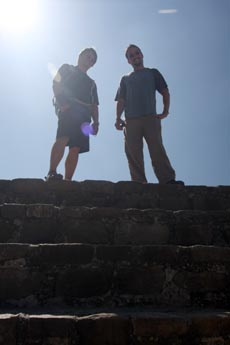 Jared and Kobus stand on top of Monte Albán.