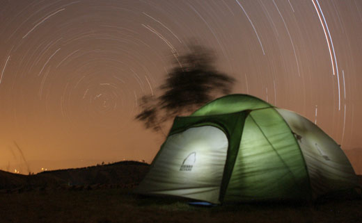 Our tent with a swirl of stars.