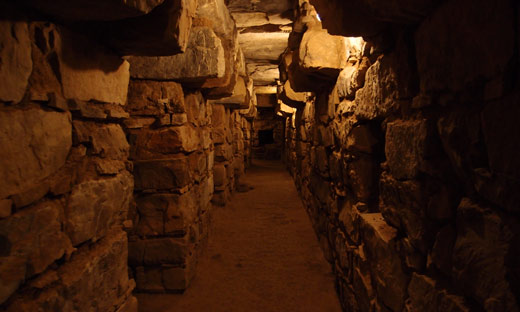 An underground tunnel in Chavin de Huantar.