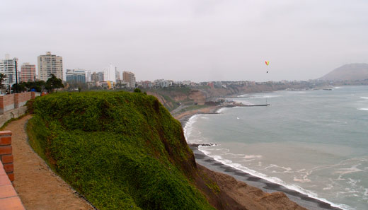 The coast of Lima under perpetually grey skys.