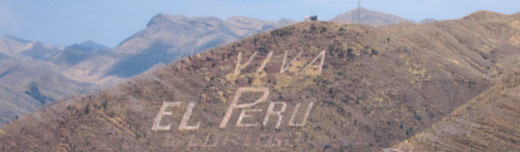 The Viva Peru sign above Cusco.