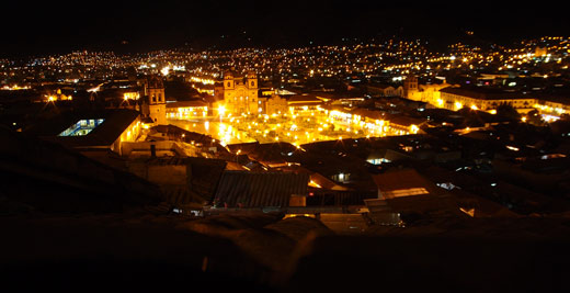 The Cusco skyline by night.