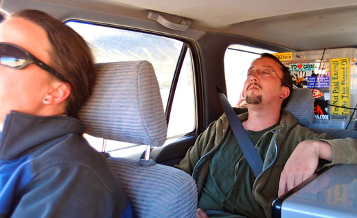 Jess and Jared sleeping while Kobus drives to Cusco.