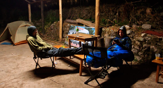 Camping in the cold in Cusco.