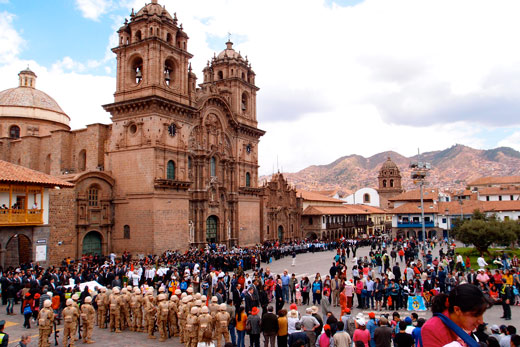 Plaza de Armas in Cusco, packed full of people.