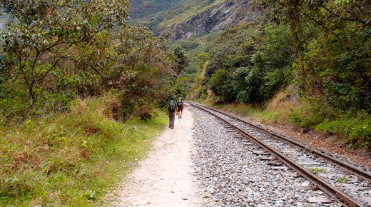 Hiking to Aguas Calientes along the railroad.