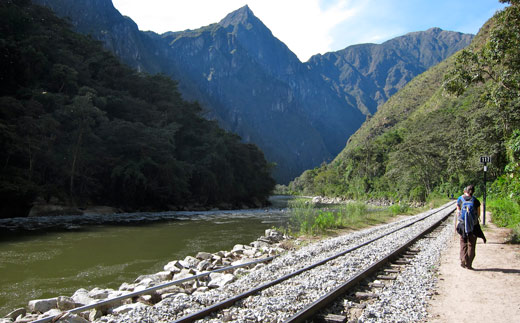 Hiking out from Aguas Calientes along the railroad tracks.