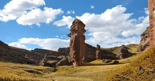 Red rock formations in northern Peru.