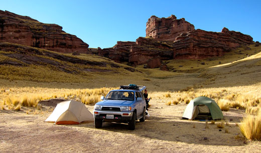 Our campsite in the red rock valley.