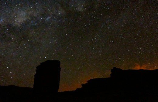 A shot of the milky way at night from our campsite.