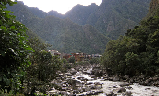 Aguas Calientes from the river.