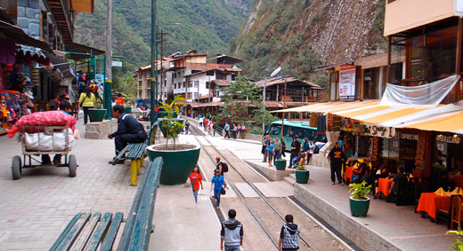 The main stretch of Aguas Calientes along the railway track.
