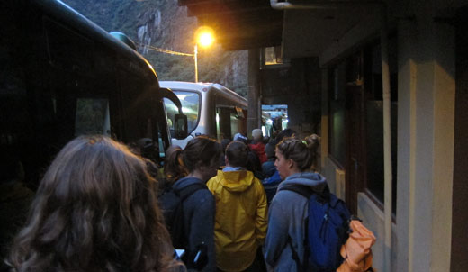 Waiting in line for the bus to Machu Picchu at 5:30am.
