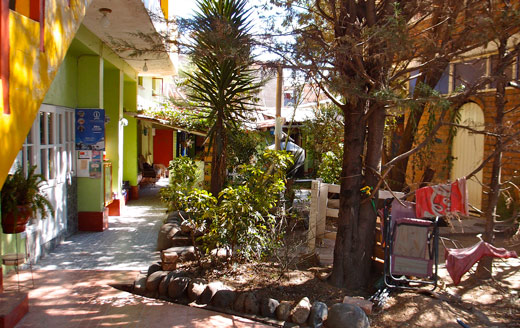 A view of the courtyard at Jo's Place in Huaraz.