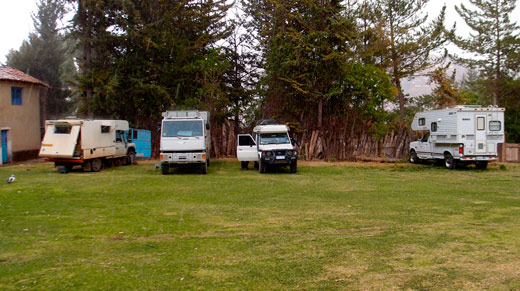 A line of other overlanders parked at our campsite in Cusco at Quinta Lala.