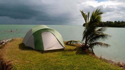 Our campsite in Chetumal, looking a bit stormy.