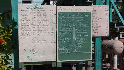 The menu board at Marins restaurant in Caye Caulker.