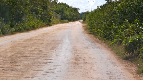 A bad dirt road in Belize.