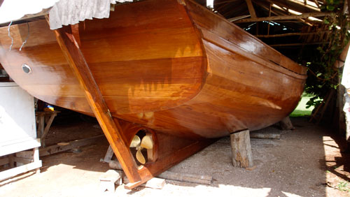 A wooden boat being built in Sarteneja.