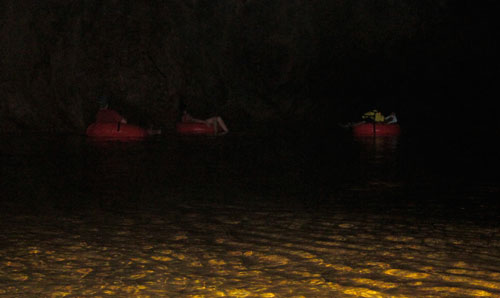 Tubing in the dark.