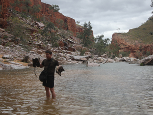 Hiking through a flooded gorge, Northern Territory, Australia